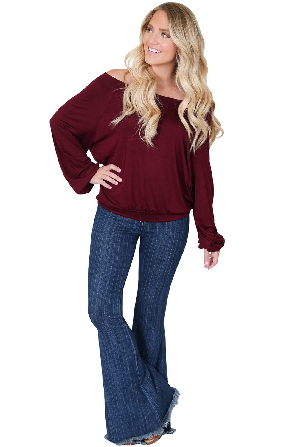 Merlot Off The Shoulder Knit Top