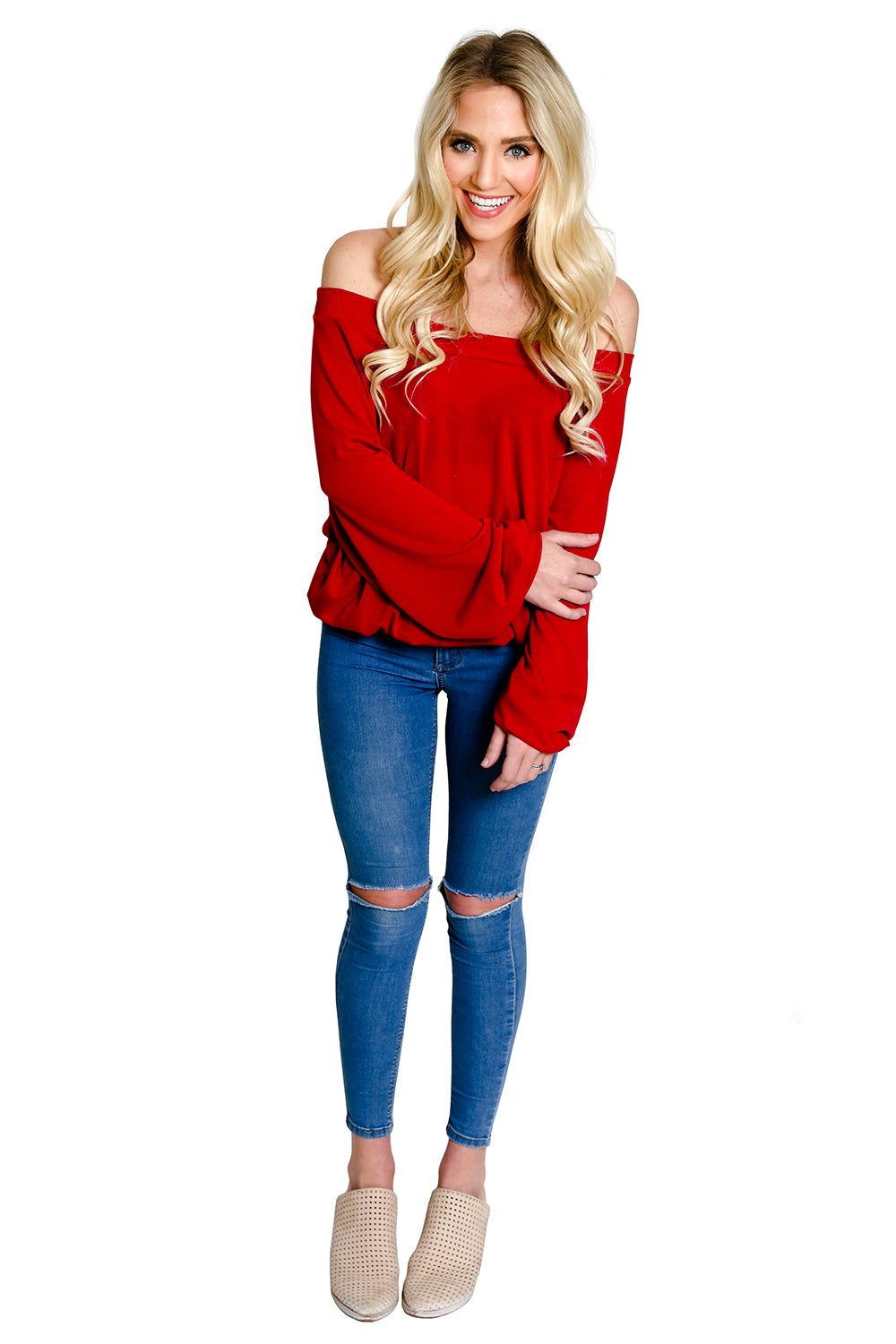 Red Off The Shoulder Sweater Knit Top