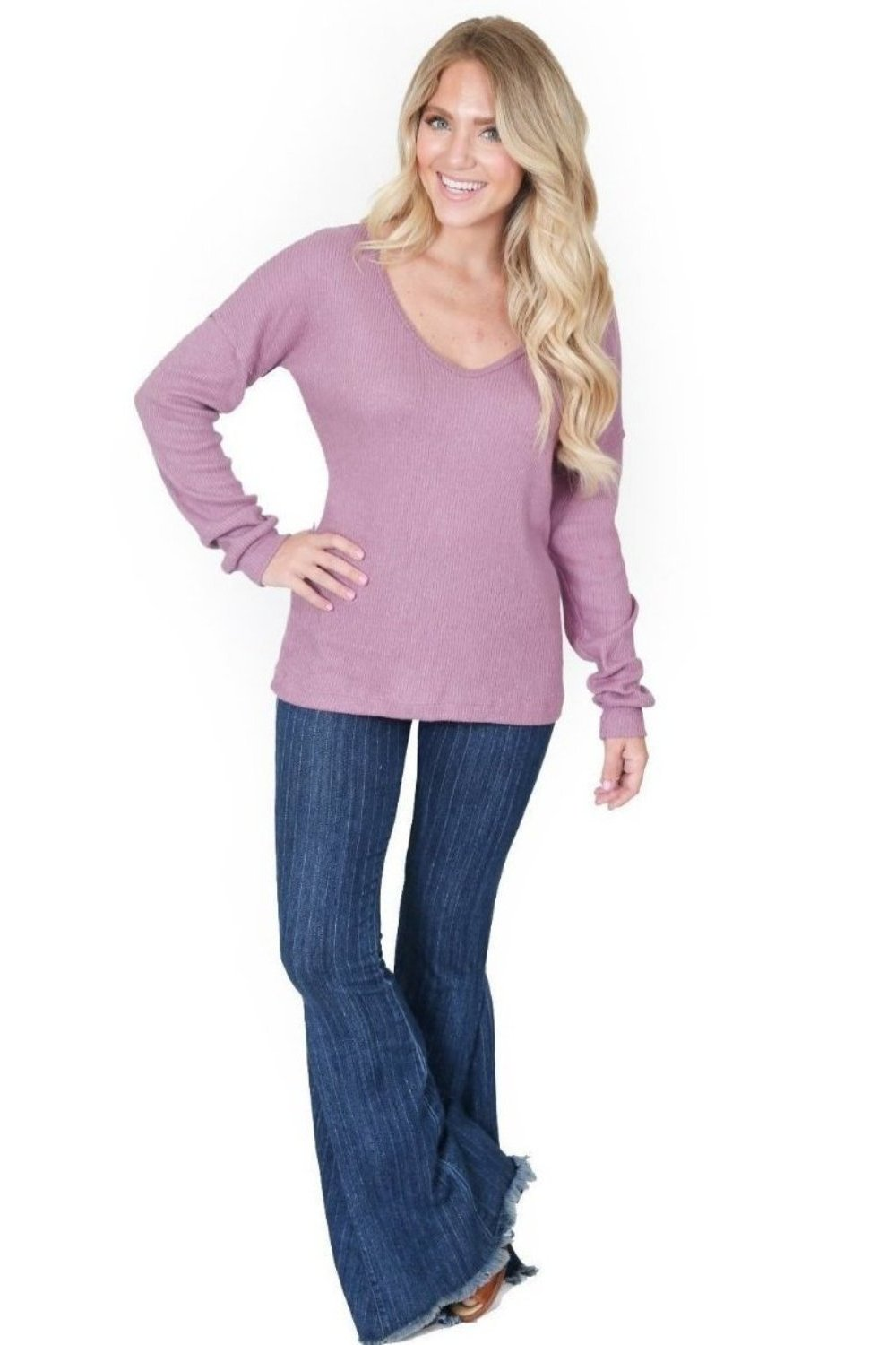 Pink Sweater Knit Slouchy V Neck