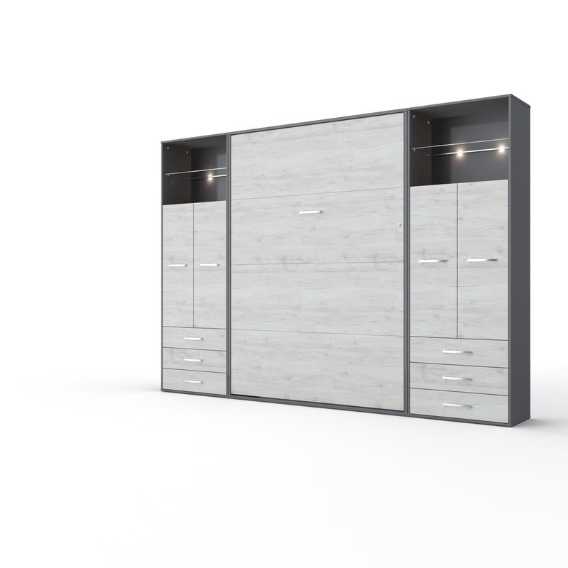 Invento Vertical Wall Bed, Full XL Size with 2 cabinets
