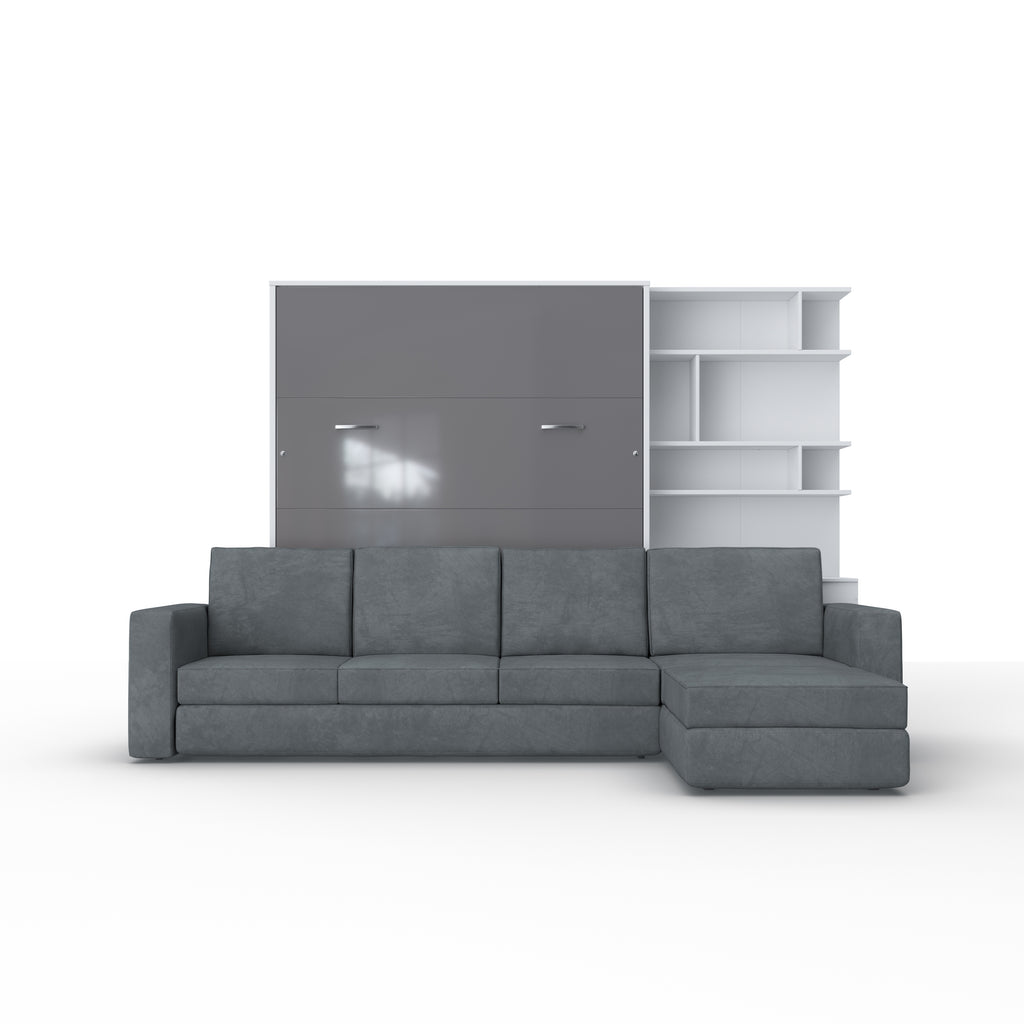 Invento Queen size Vertical Murphy Bed with a Corner Sofa and a Bookcase
