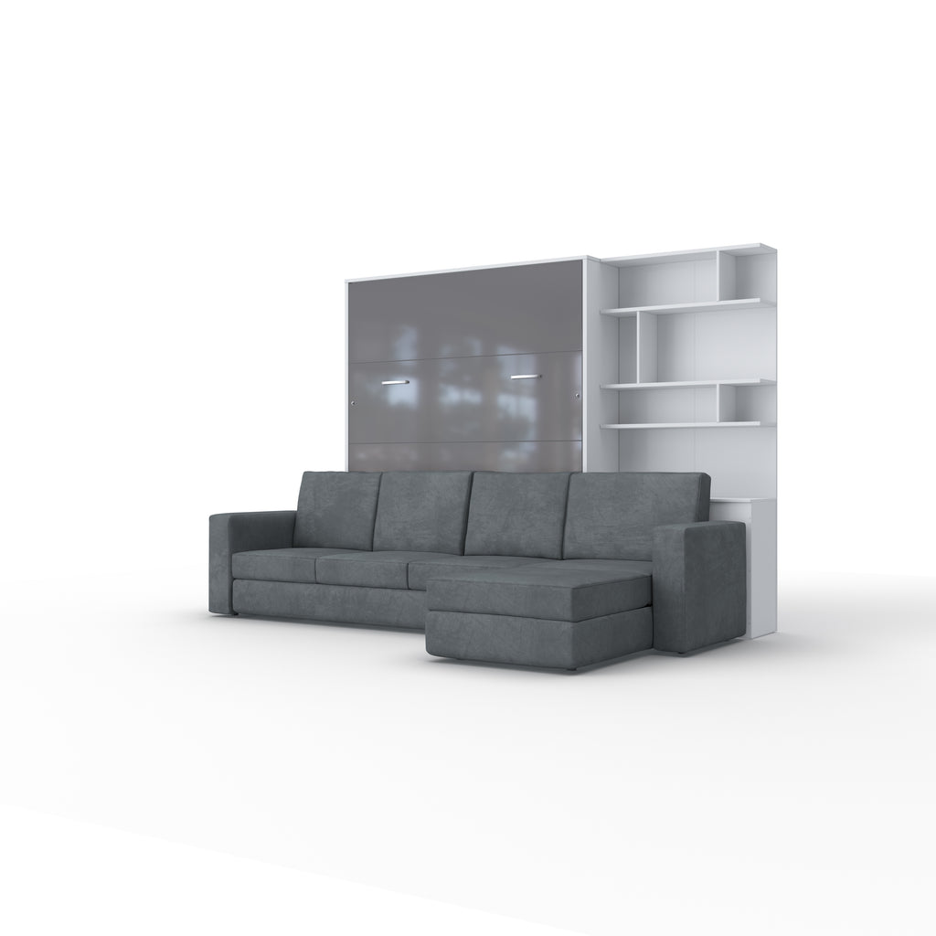 Invento Full XL Vertical Murphy Bed with a Corner Sofa and a Bookcase