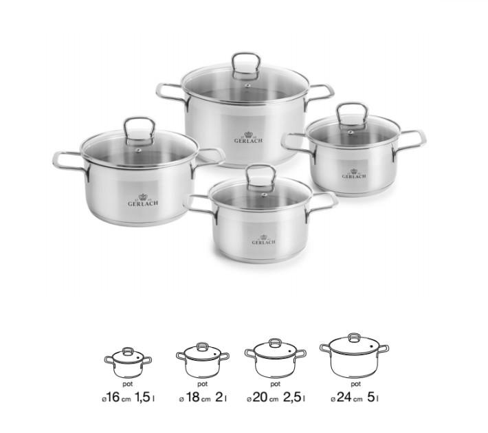 VIVA Stainless Steel Pot Set With Lids 8 pcs