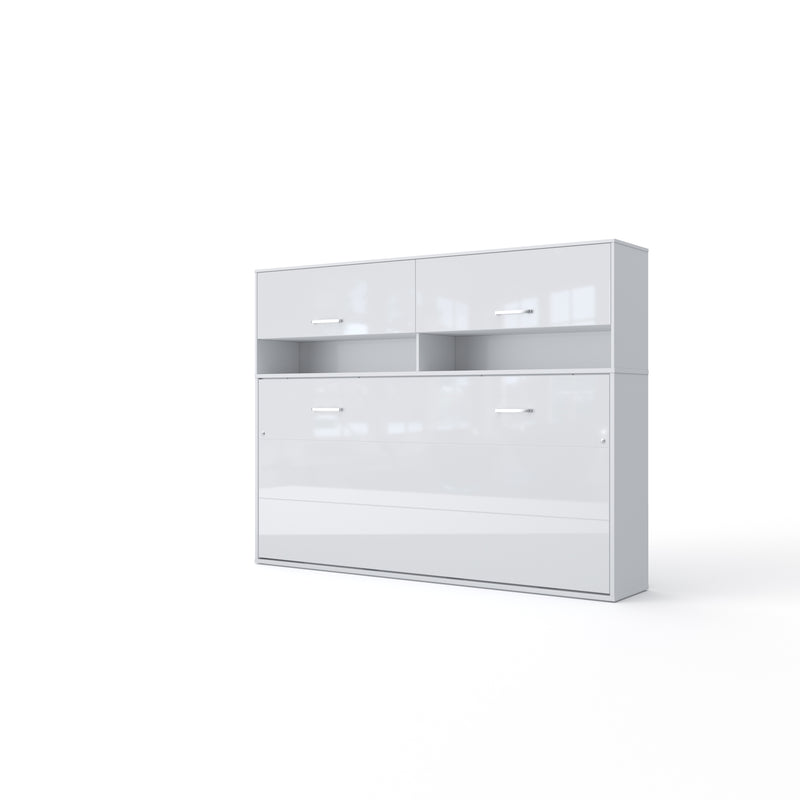 Invento Horizontal Wall Bed, European Twin Size with a cabinet on top