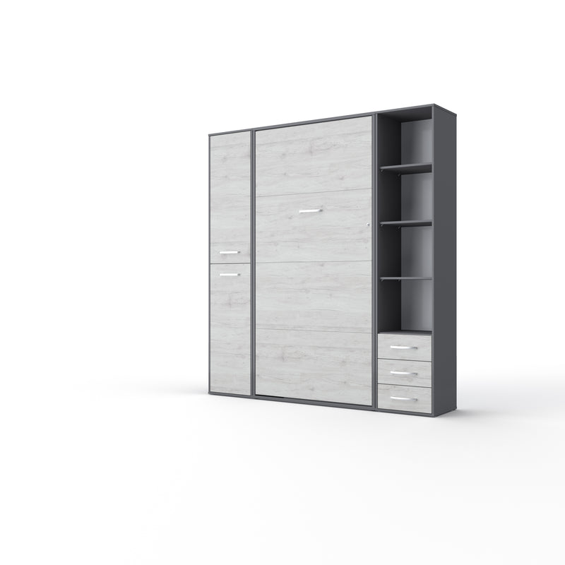 Invento Vertical Wall Bed, European Full Size with 2 cabinets