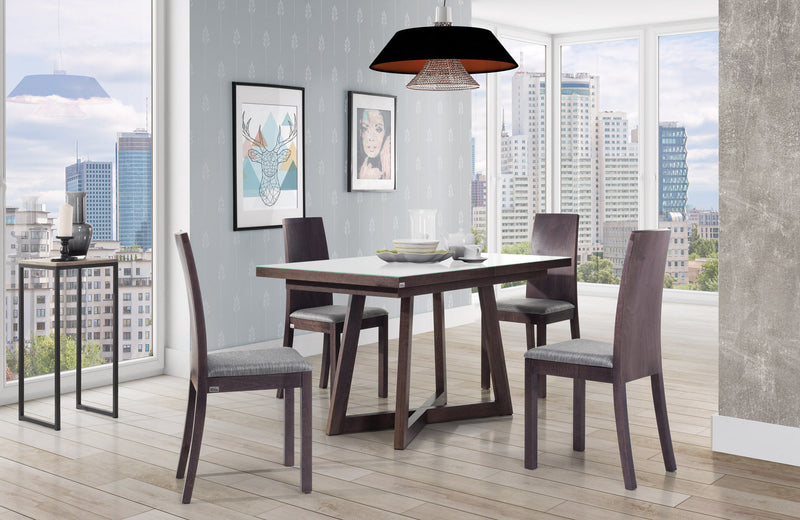 BRISH Glass Top Dining Table With Extension