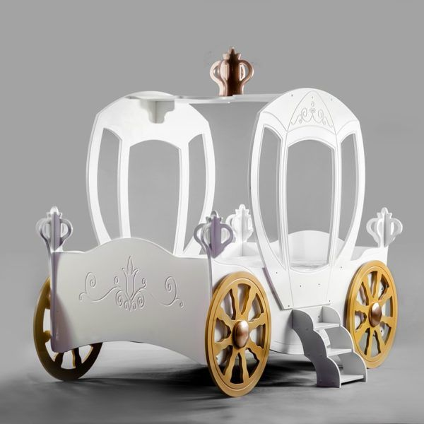 Princess Carriage Toddler Car Bed WHITE