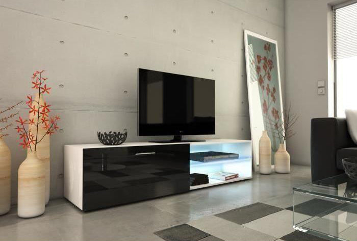 CHAMOMILE 160  White-Black TV Stand