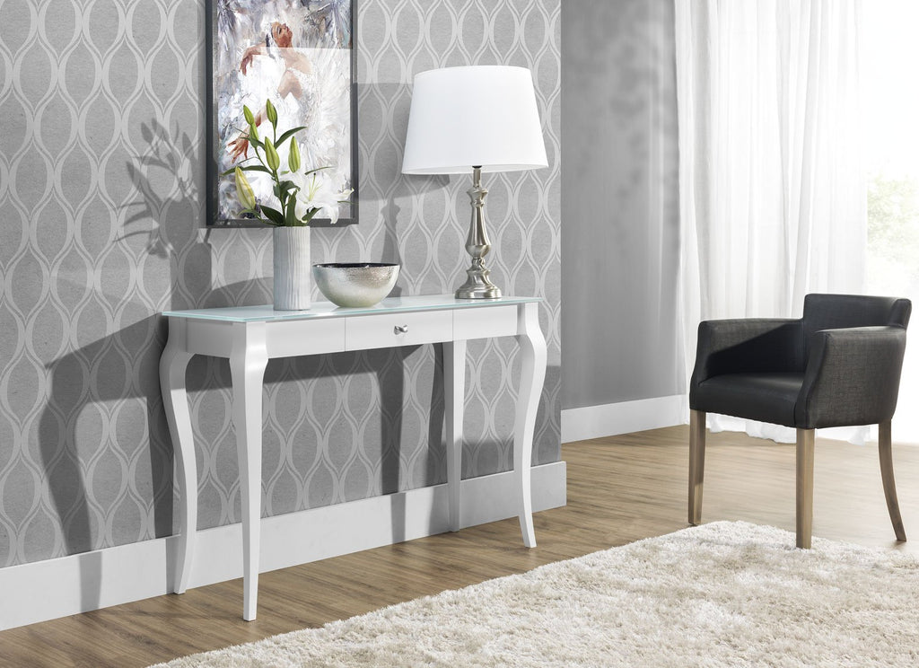 BRESSO Glass Top Console Table