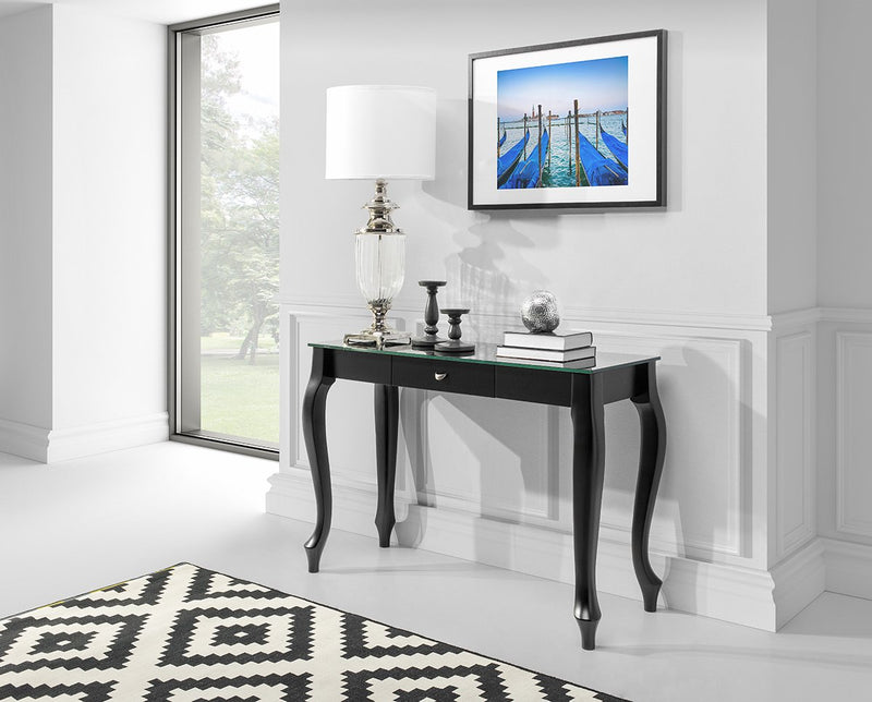 RETRO Glass Top Console Table