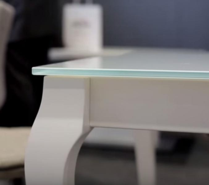 BRESSO Glass Top Dining Table With Extension
