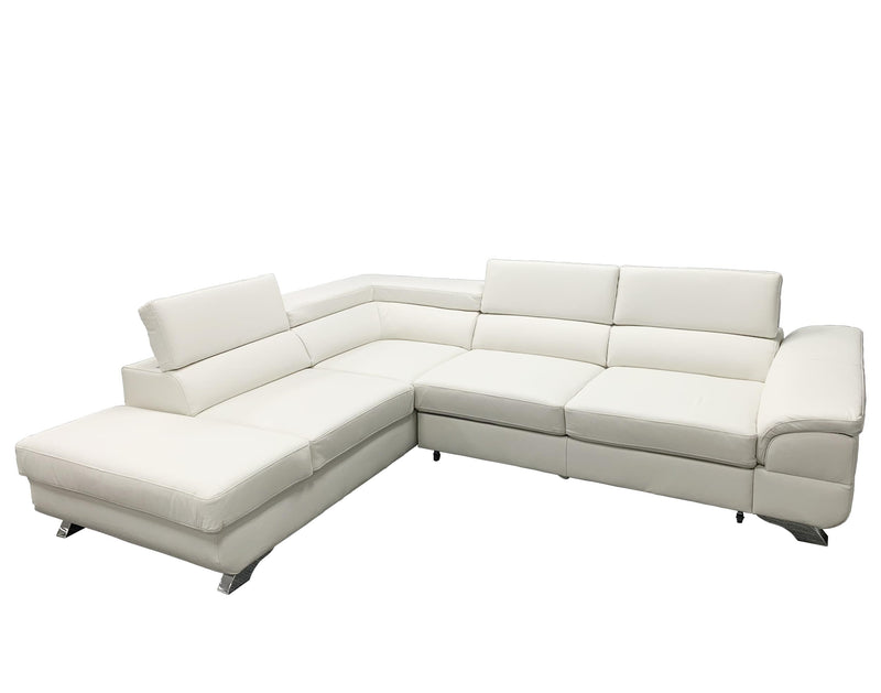 LAGOS Leather Sectional Sleeper Sofa, Left Corner