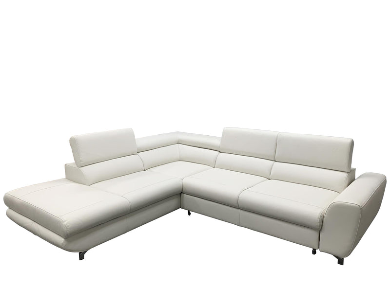 PIANO Leather Sectional Sleeper Sofa, Left Corner