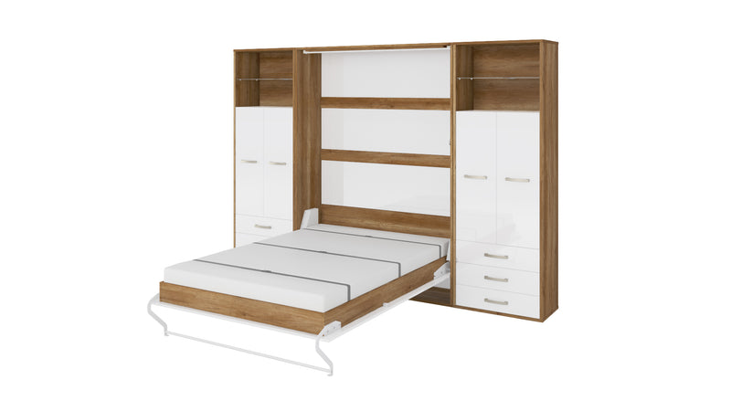 Invento Vertical Wall Bed, Queen Size with 2 cabinets