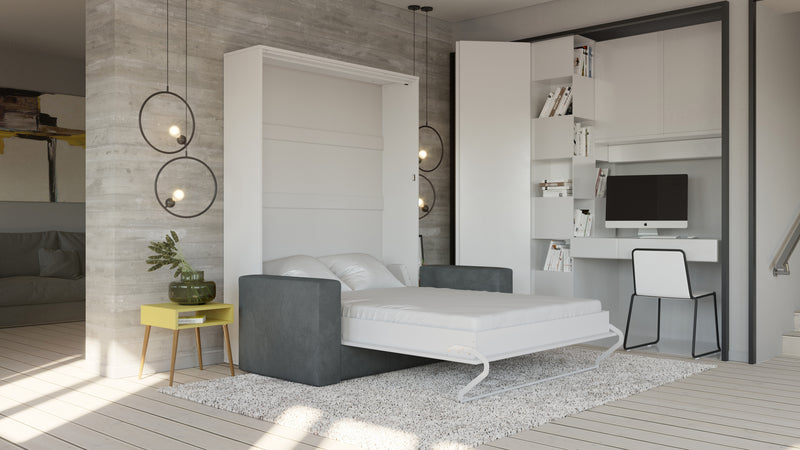 Invento Queen Vertical Murphy Bed with a gray Sofa