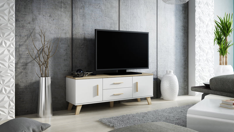 LOTTA White & Wood TV Stand Small