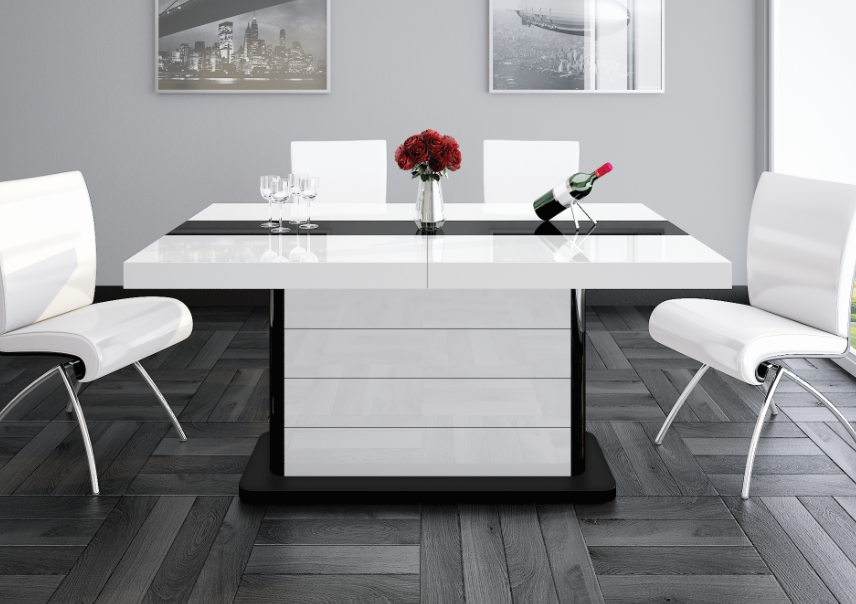 PIANOSA White Gloss Dining Table with Extension