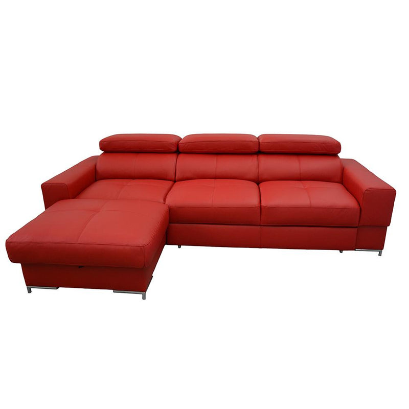 BAZALT Natural Leather Sleeper Sectional