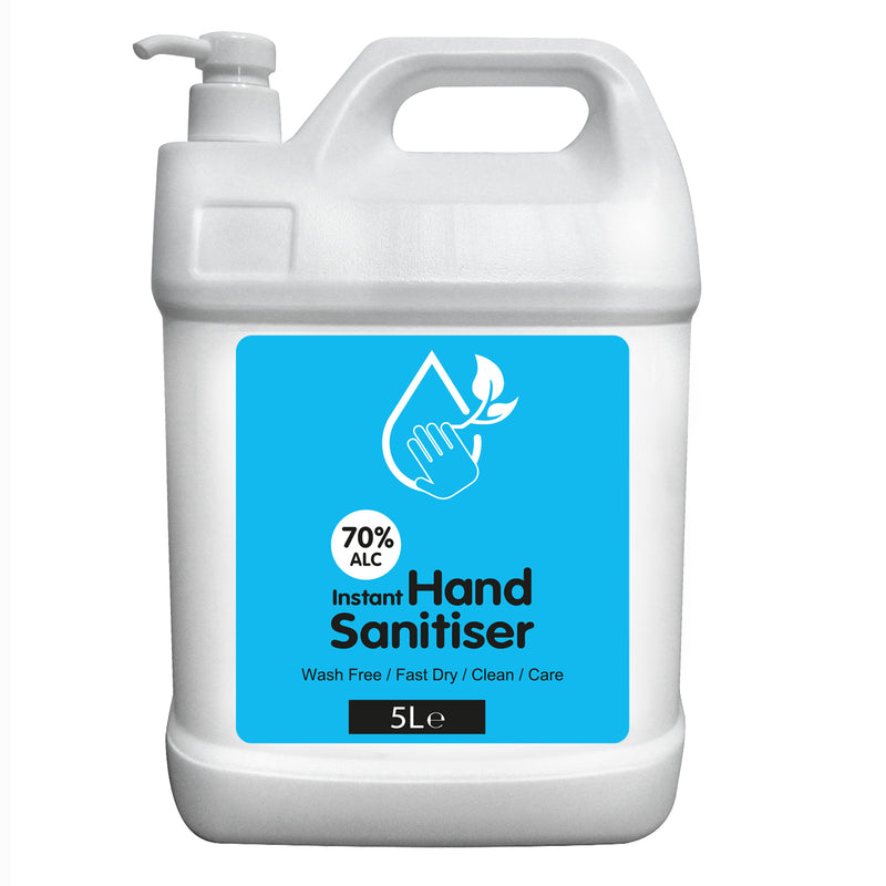 Hand Sanitiser 5 Litre Bottles 70% Plus Alcohol INCLUDING PUMP.