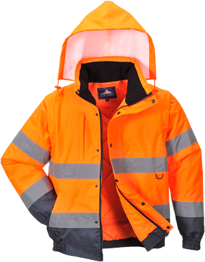 Portwest Hi-Vis Two Tone Bomber Jacket (S266) 2 in 1