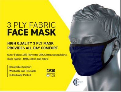 Box 25 3 Ply Fabric Masks Poly / Cotton - Stretch Fabric Navy
