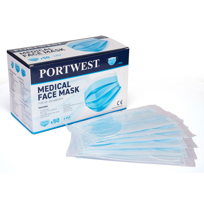 Type IIR - Fluid Resistant - Disposable 3-ply medical mask (pack of 50) EN14683-2019
