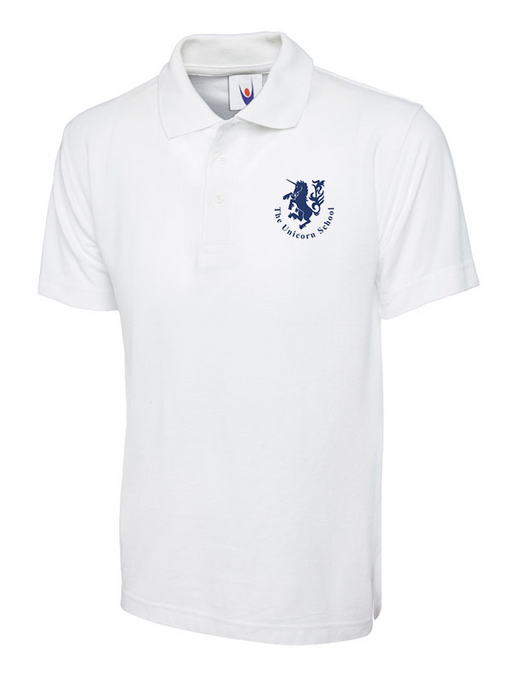 Unicorn Branded School Polo Shirt (School Years 2-6) Printed Unicorn Logo in White