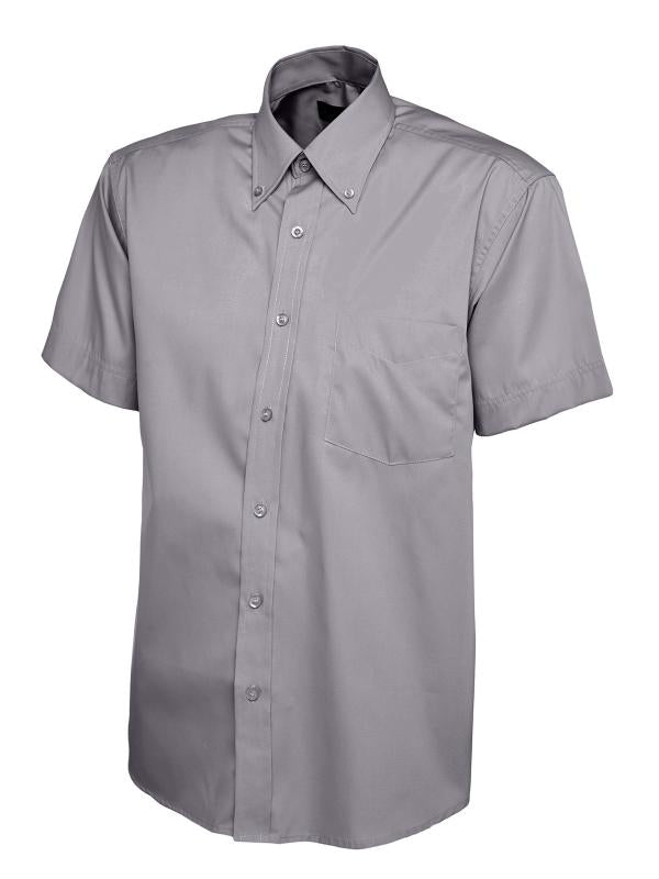 UC702 Mens Pinpoint Oxford Half Sleeve Shirt Charcoal