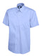 UC702 Mens Pinpoint Oxford Half Sleeve Shirt Mid Blue