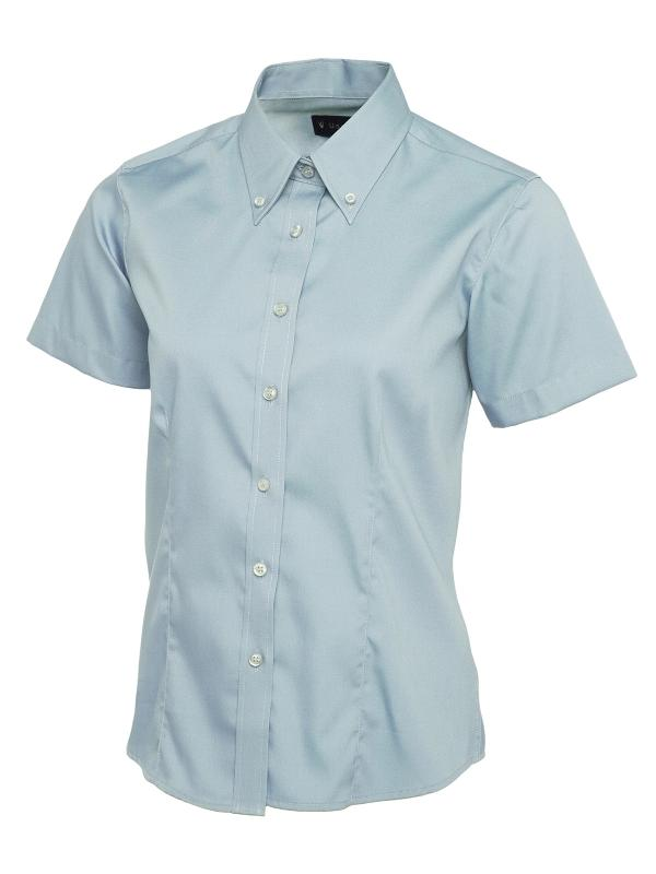 UC704 Ladies Pinpoint Oxford Half Sleeve Shirt Light Blue