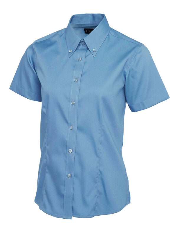 UC704 Ladies Pinpoint Oxford Half Sleeve Shirt Mid Blue