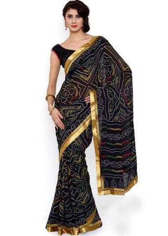 Bandhani Black Saree