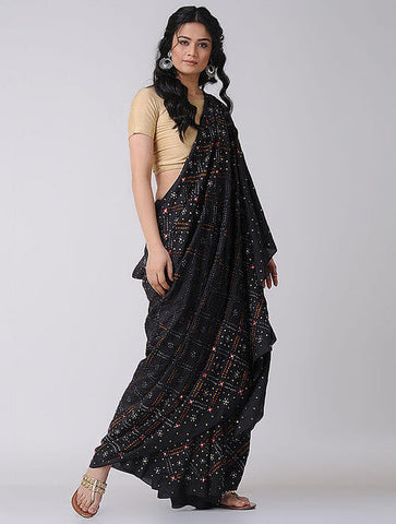 Bandhani Sarees With Mirror Work
