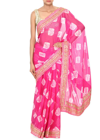 Bandhani Sarees With Zari Border