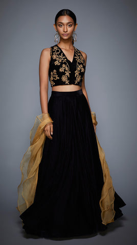 Black And Gold Lehenga Skirt