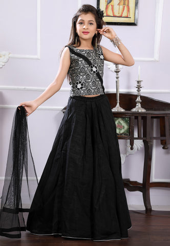 Black Brocade Lehenga Skirt