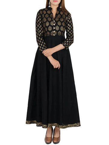 Black Cotton Printed Flared Kurta