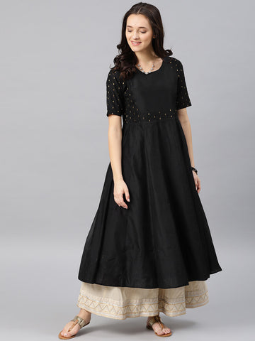 Black Flared Kurta