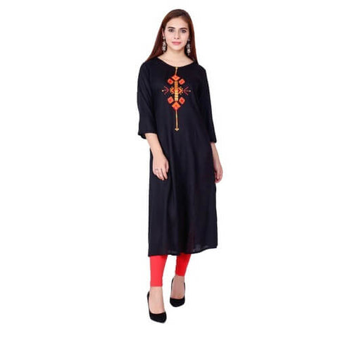 Black Kurti With Embroidery