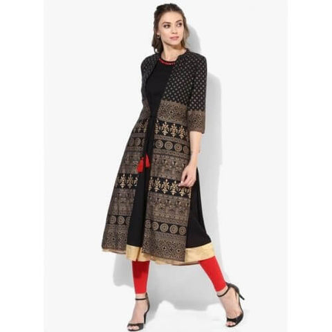 Black Kurti With Golden Embroidery