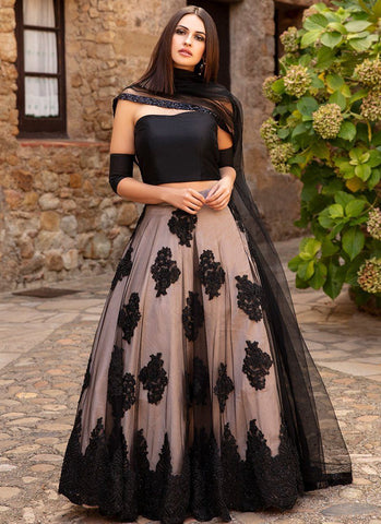 Black and cream lehenga with floral embroidery