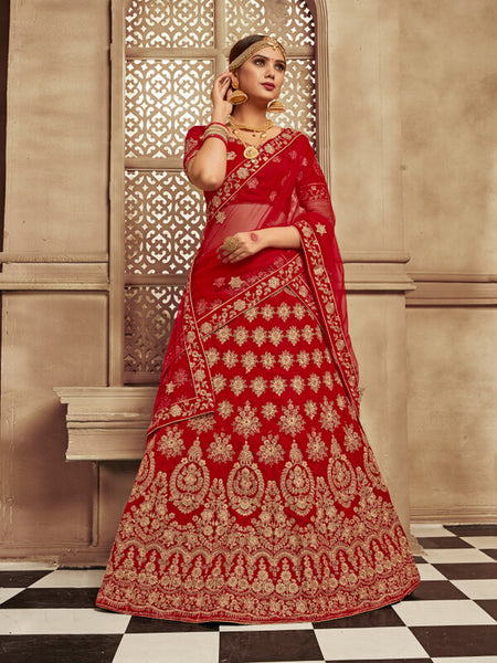 Blood Red Bridal Lehenga
