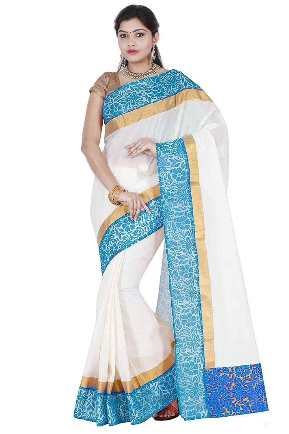 Blue Kasavu Saree