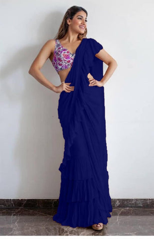 Blue Ruffle Saree