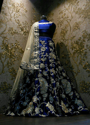 Blue embroidery heavy Lehenga
