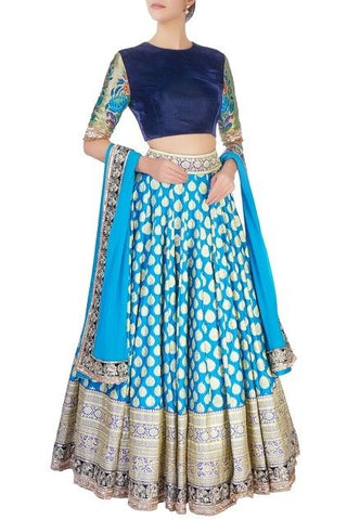 Blue Brocade Lehenga Choli With Dupatta