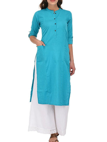 Blue Color Pocket Kurti