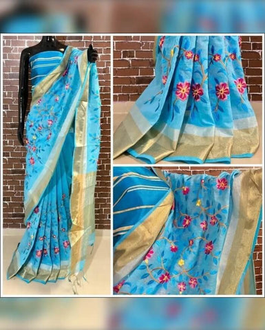 Blue Embroidery Linen Saree