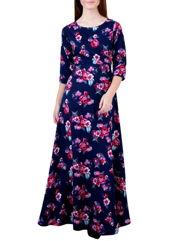 Blue Flower Long Length Dress