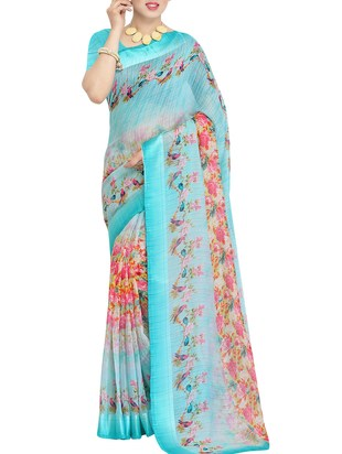 Blue Linen Printed Saree